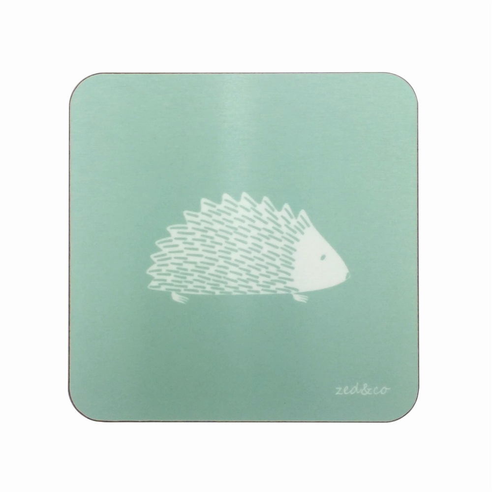 Hedgehog Coasters In Sage - Set of Four - Zed & Co