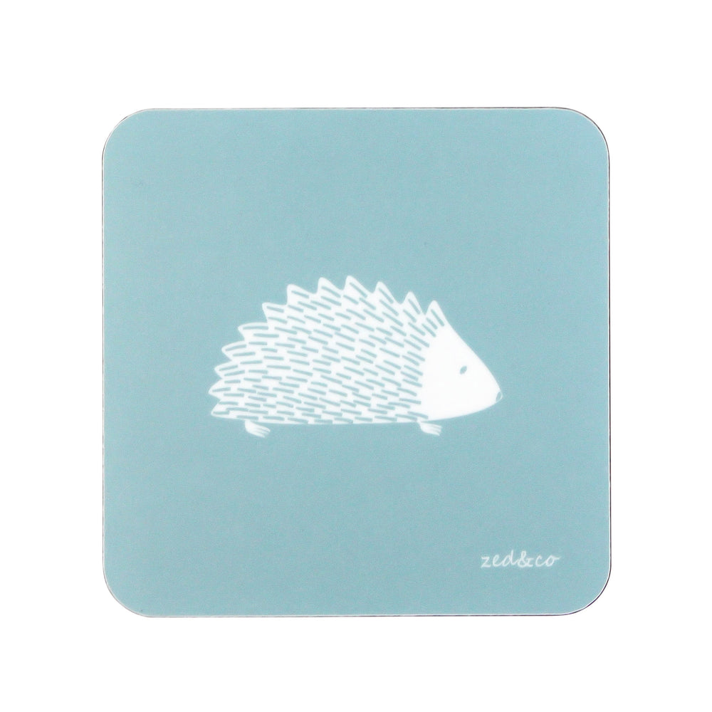 Hedgehog Coasters In Soft Blue - Set of Four
