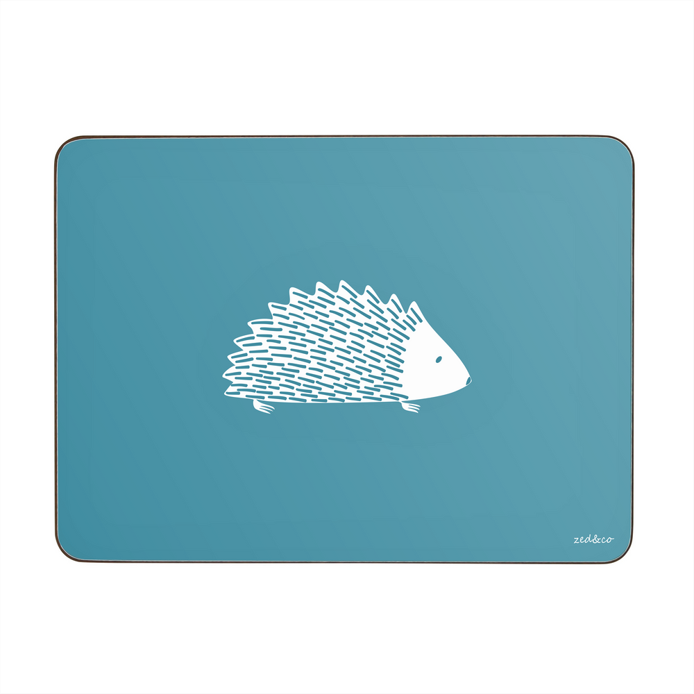 Hedgehog Placemats In Teal - Set of Four