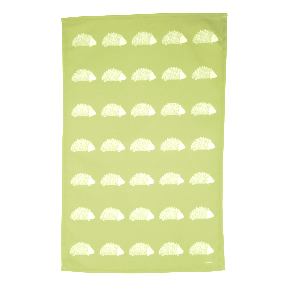 Hedgehog Tea Towel In Pistachio