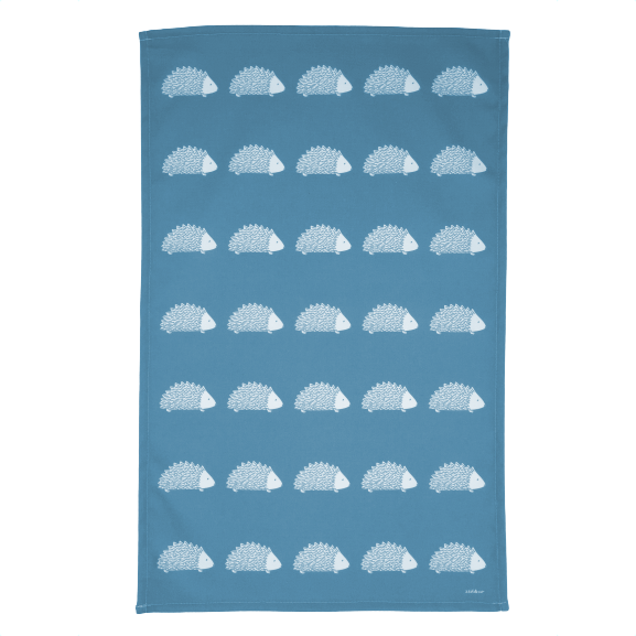 Hedgehog Tea Towel In Teal
