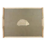Hedgehog Wooden Tray In Grey - Zed & Co