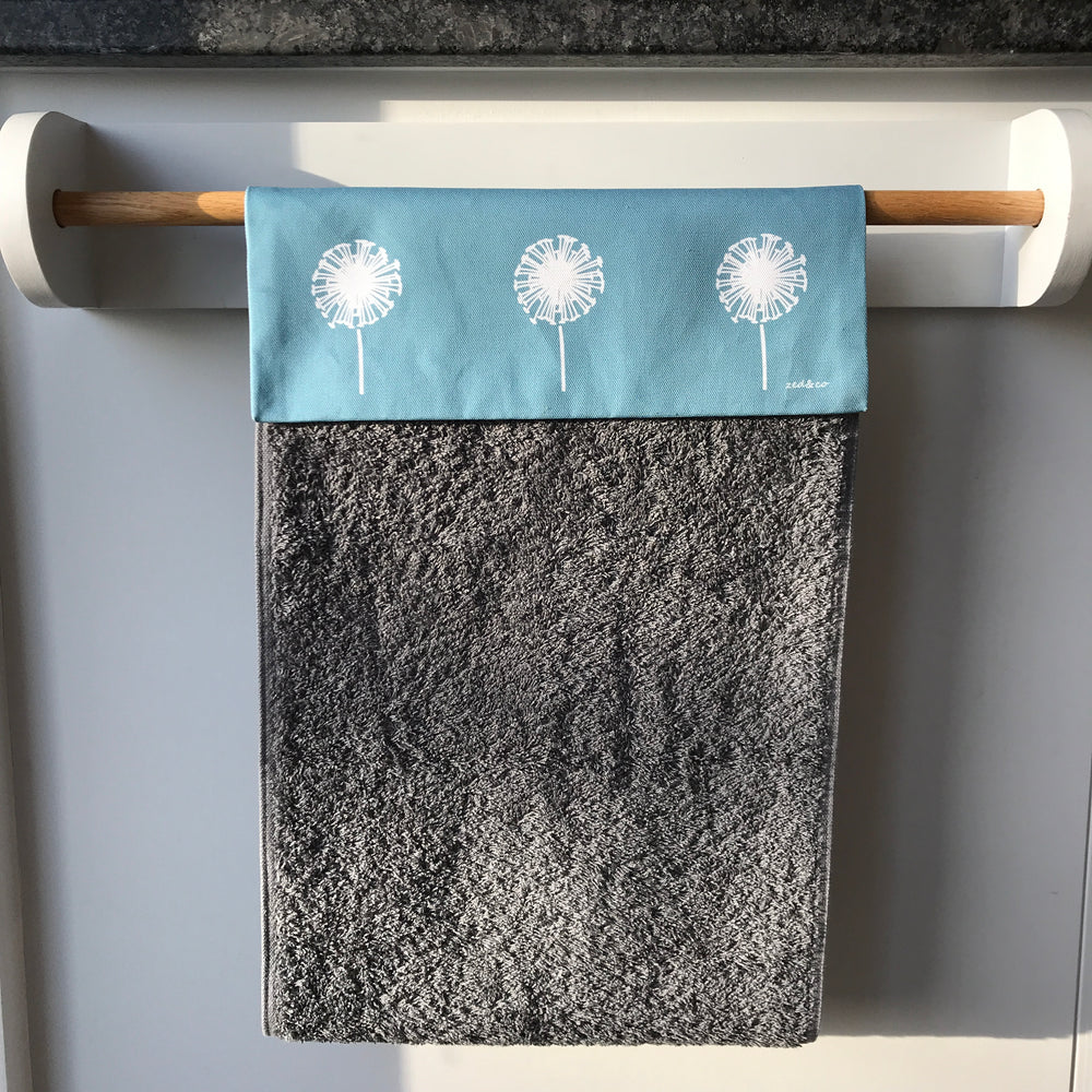 Dandelion Roller Hand Towel In Teal