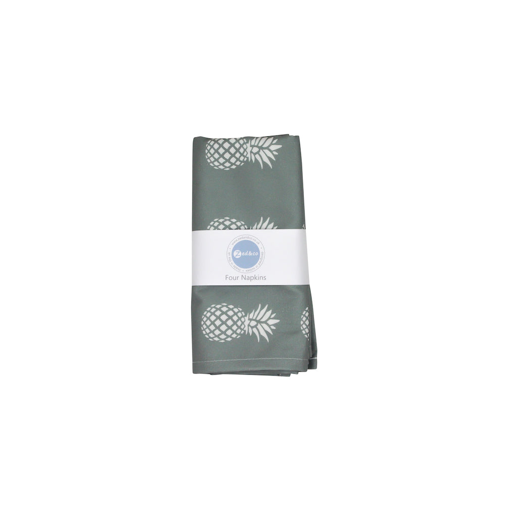 Pineapple Napkins In Grey - Set of Four - Zed & Co
