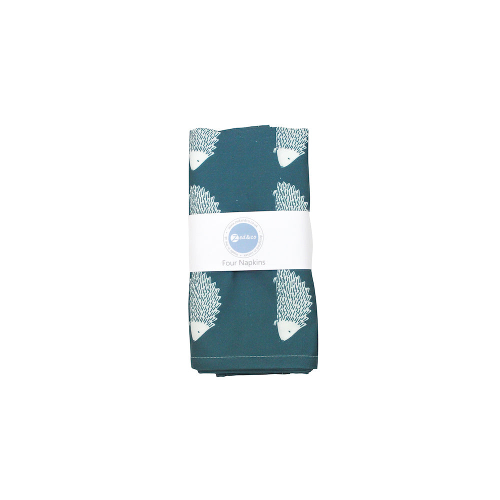 Hedgehog Napkins In Teal - Set of Four - Zed & Co