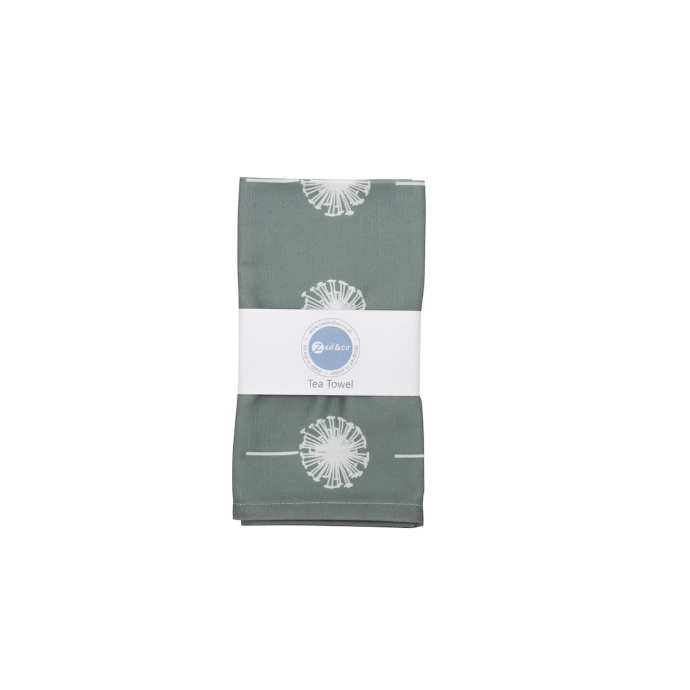 Dandelion Tea Towel In Grey - Zed & Co