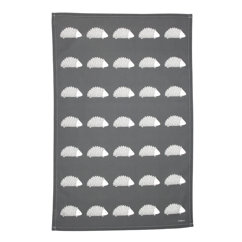 Hedgehog Tea Towel In Slate - Zed & Co