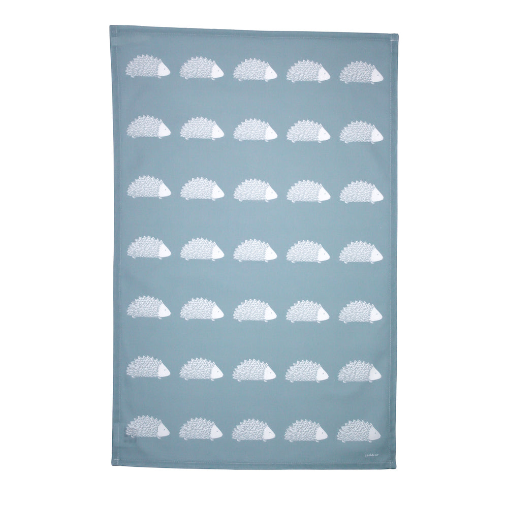Hedgehog Tea Towel In Soft Blue
