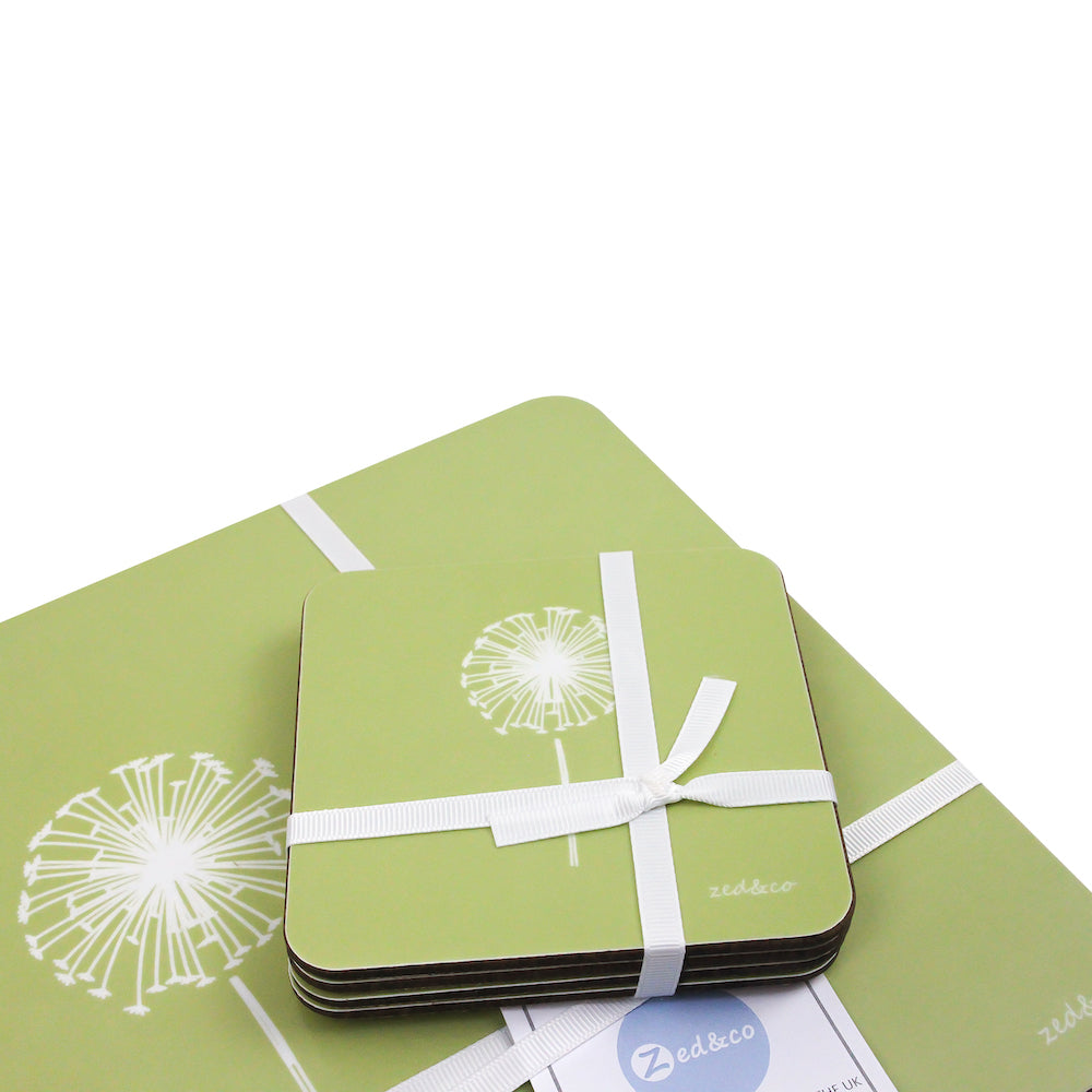 Dandelion Coasters In Pistachio - Set of Four - Zed & Co