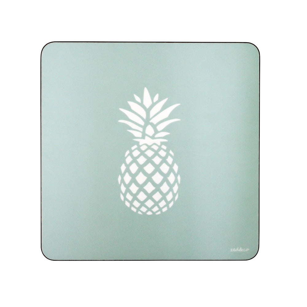 Pineapple Placemats In Aqua - Set of Four