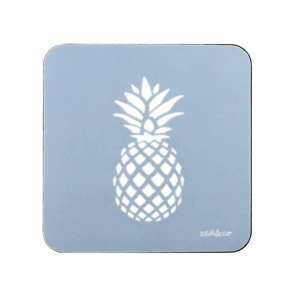 Pineapple Coasters In Bluebell - Set of Four - Zed & Co
