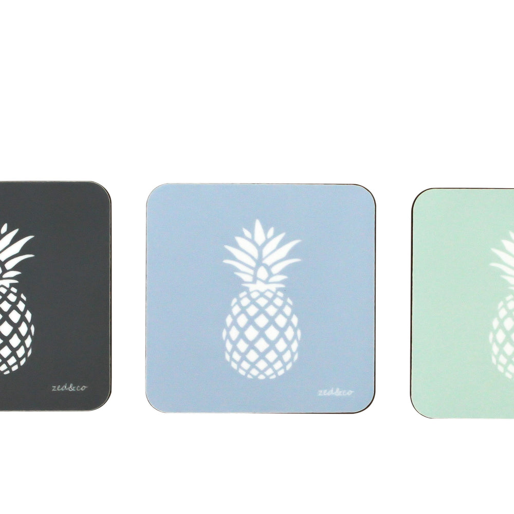 Pineapple Coasters In Aqua - Set of Four - Zed & Co