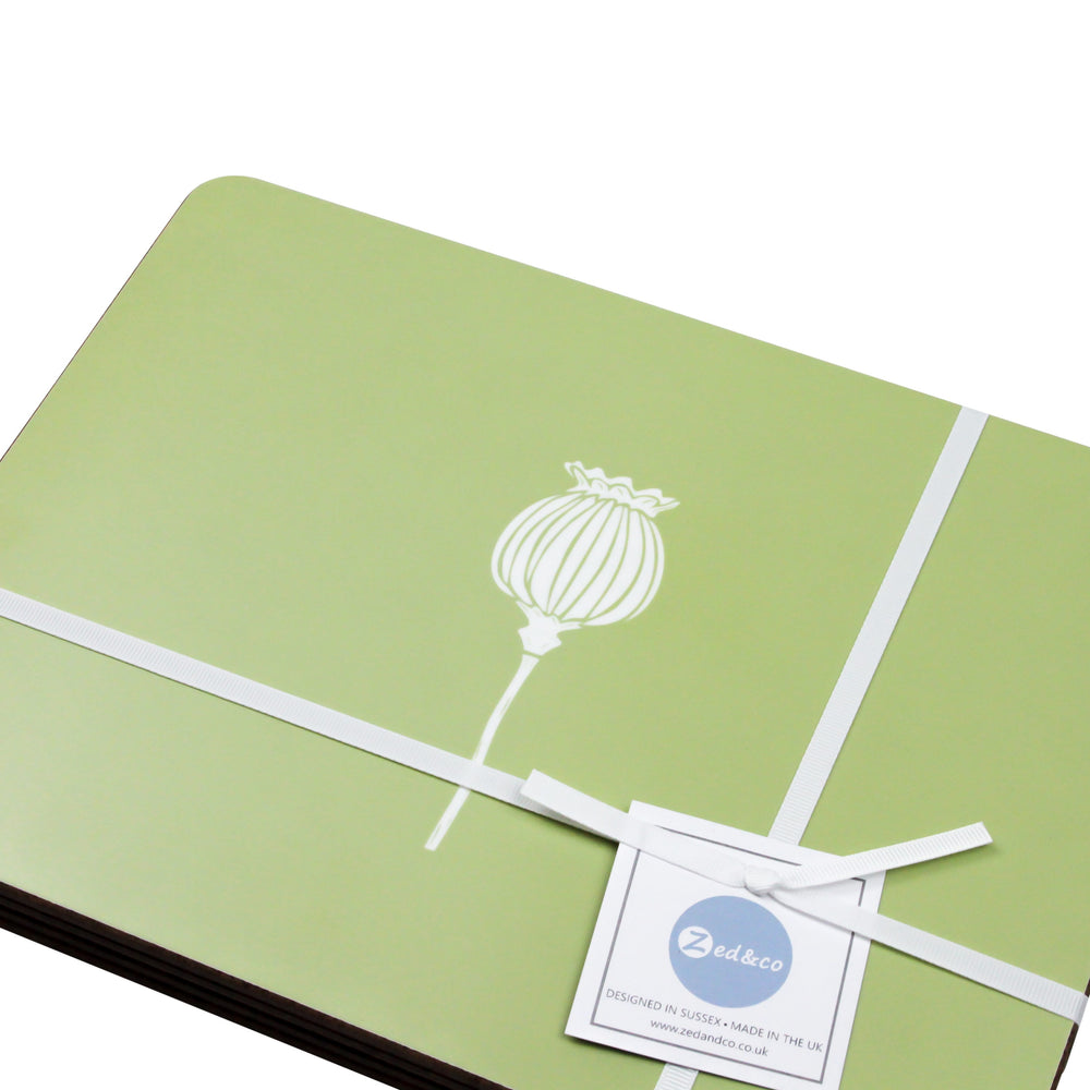 Poppy Placemats In Pistachio - Set of Four - Zed & Co