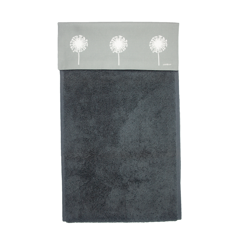 Dandelion Roller Hand Towel In Grey - 700gsm
