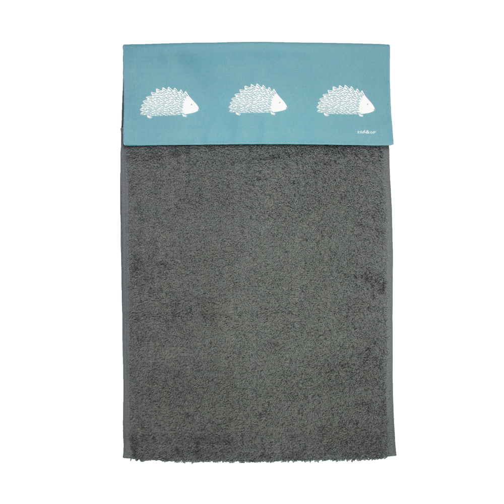 Hedgehog Roller Hand Towel In Teal