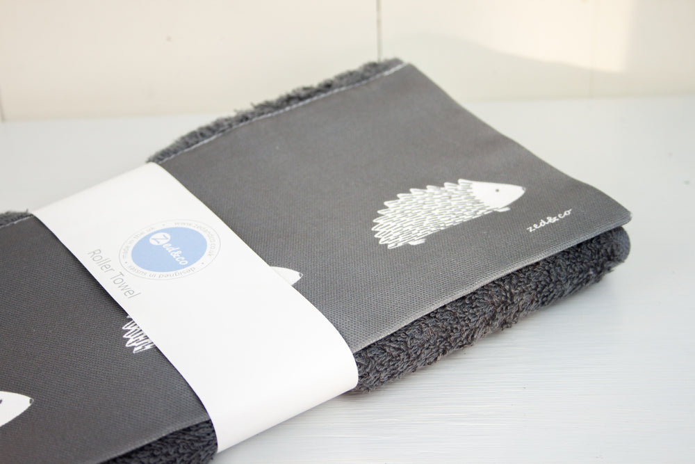 Hedgehog Roller Hand Towel In Sage