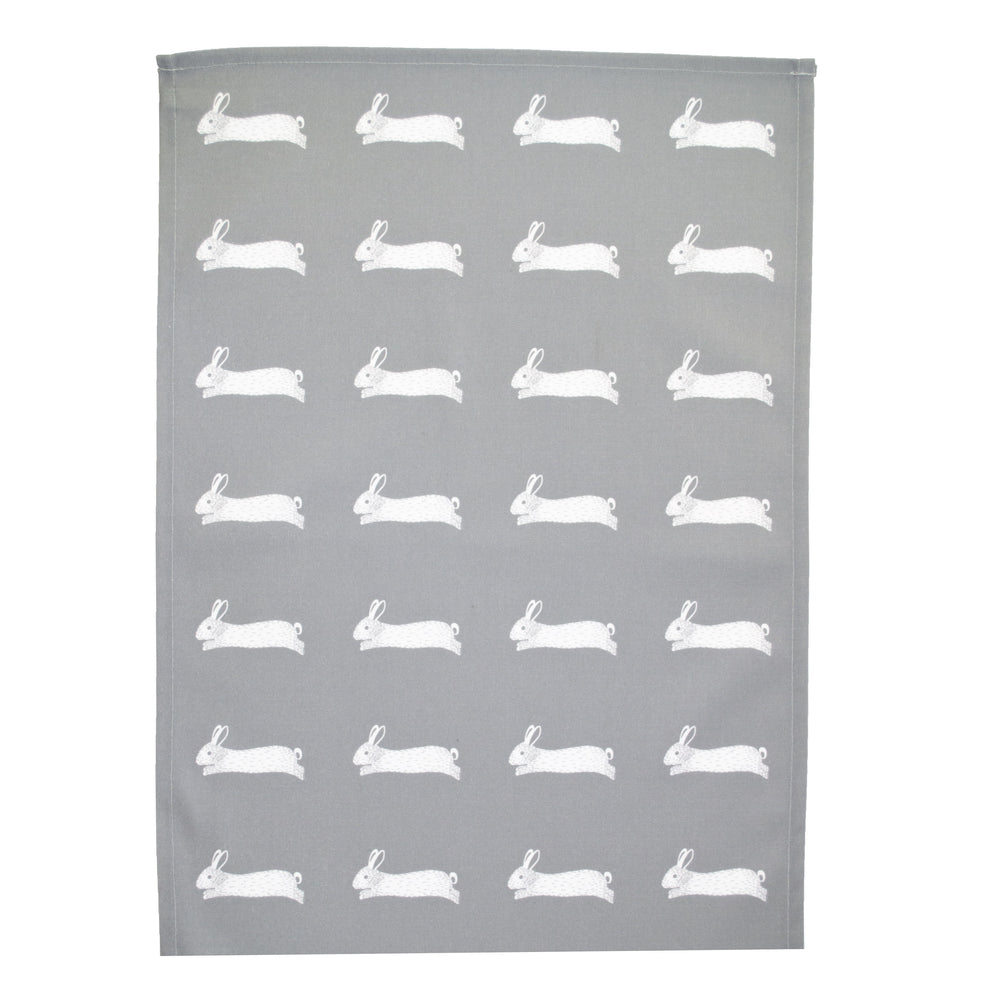 Hare Tea Towel In Grey