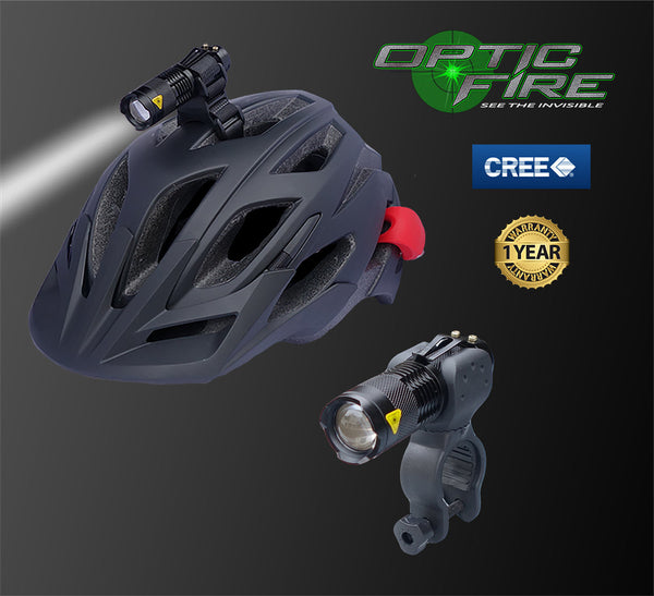 Micro Q5-ZOOM Bike & helmet light combo - Opticfire UK LED gun lights  - 1