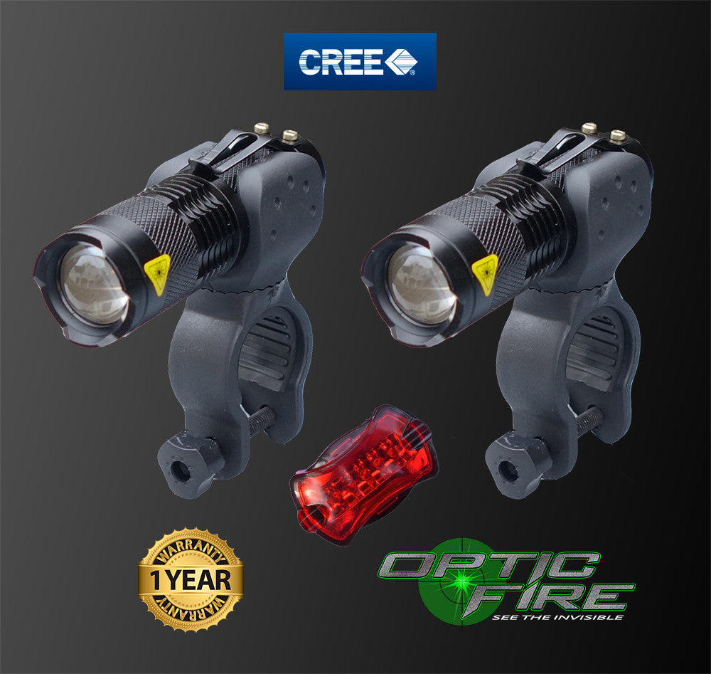 Micro Q5-ZOOM Bike light set - Opticfire UK LED gun lights  - 2