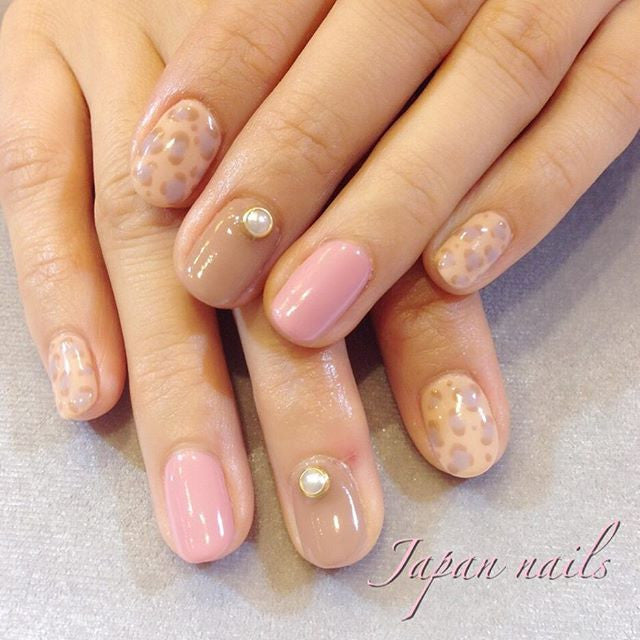 Pink leopard nails, Japanese nail salon Melbourne