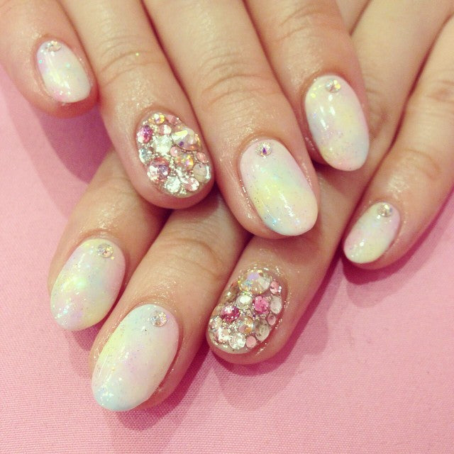 Diamond and bling nail design