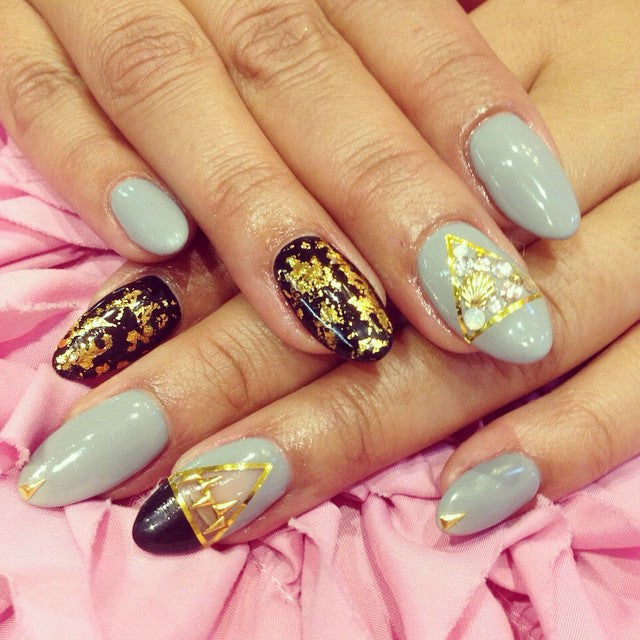 Gold and classy nail design