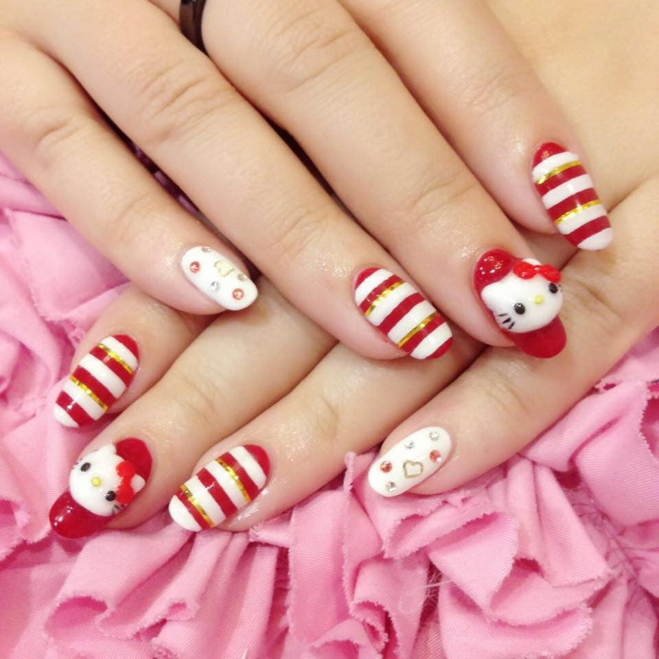 Hello Kitty nail arts
