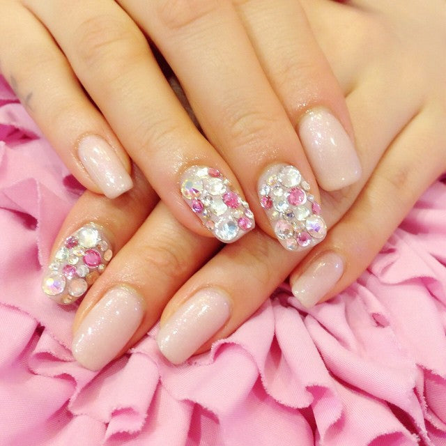 Diamond and glamours Japanese nail design