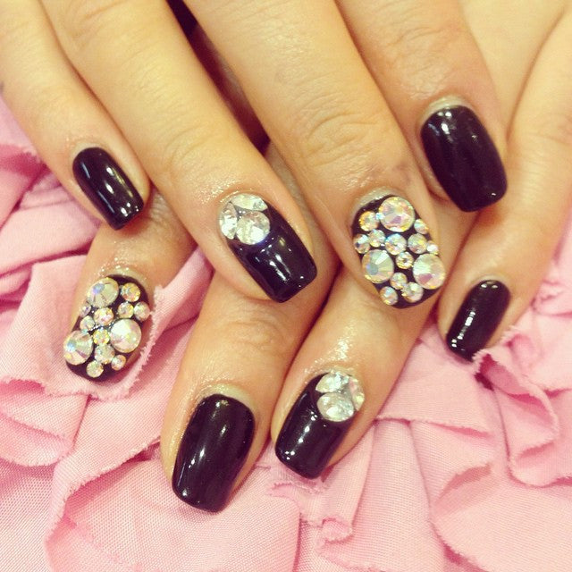 Gem and diamonds nail design