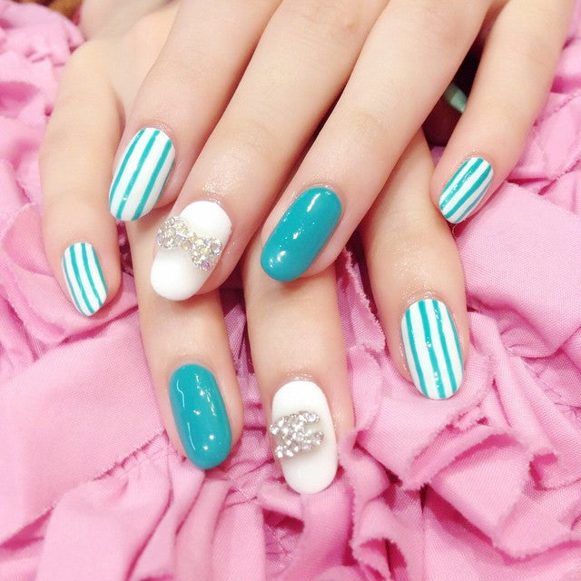 Beautiful aqua nail design
