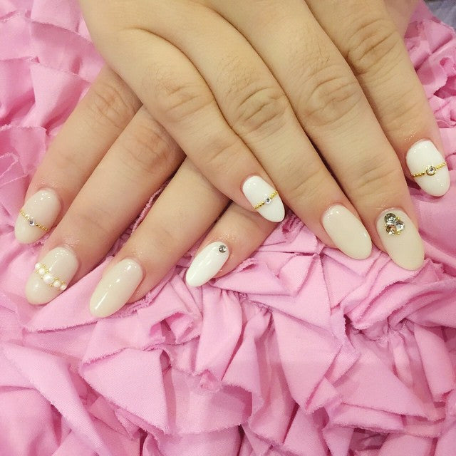 Pearl white Japanese nail design