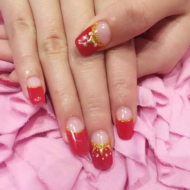 Red French nail design