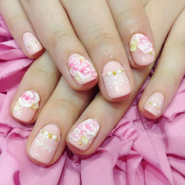 3D floral sculpture Japanese nail design