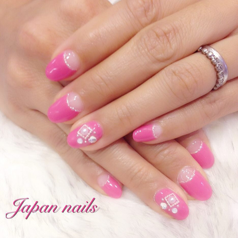 Pink deep French nails