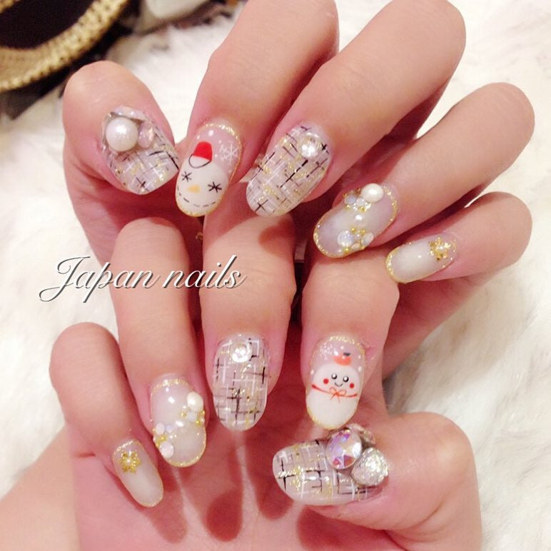 tweed nails with snow man~