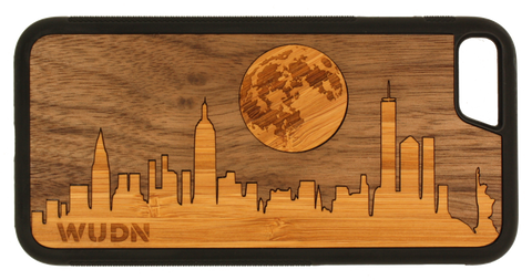 Slim Wooden Walnut/Bamboo Phone Case | New York Moon Traveler