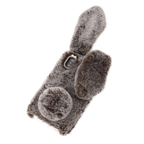 CARPRIE Bunny Rabbit Ear Fluffy Soft Phone Case For iphone XS/XS MAS Luxury Bling Diamond Fur Plush Fuzzy Soft Phone Cover 90122