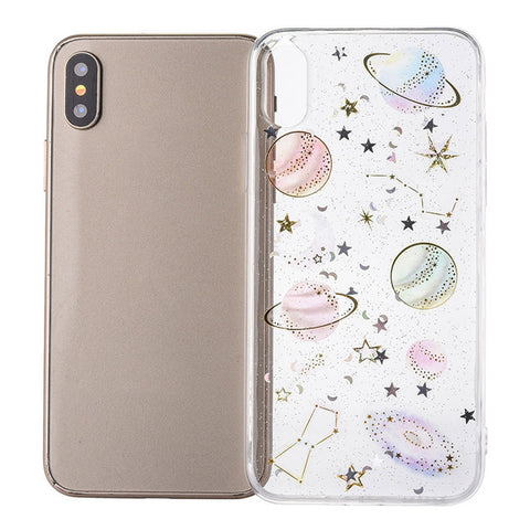CARPRIE Soft TPU Case Cover For iphone XS/XS MAS/XR Simple Design Planet Character Printing Clear Mobile Phone Case 90122