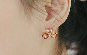 Cute red, white and black bike earrings