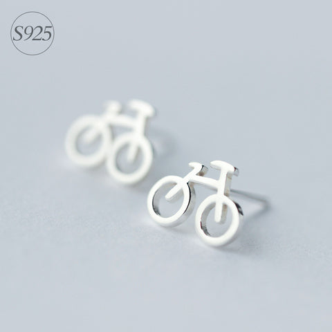 Sterling Silver Bike Earrings