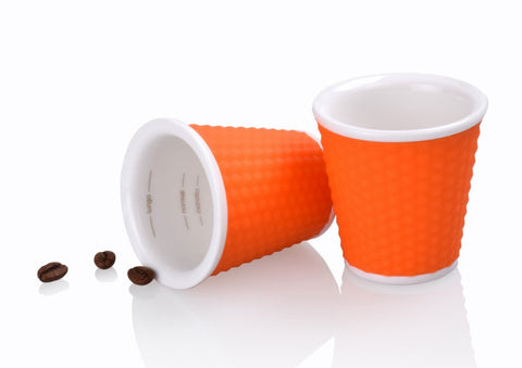 Les Artistes Set of 2 Espresso Cups with Silicone Cover – 3.5 oz (Orange)