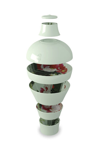 Ming Pivoine Vase  - Set of 7 stackable pieces