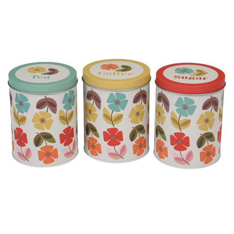 Mid Century Poppy Set of Tea Coffee and Sugar Tins
