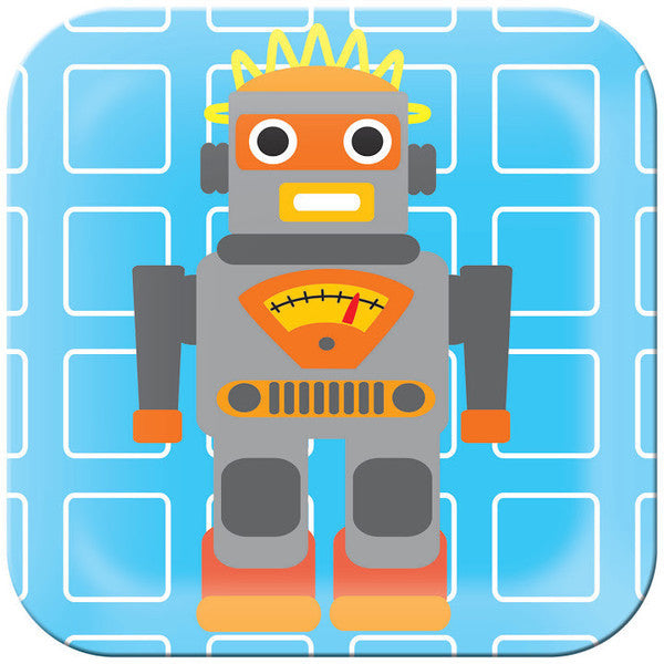 Kids Robot Square Plate- Blue