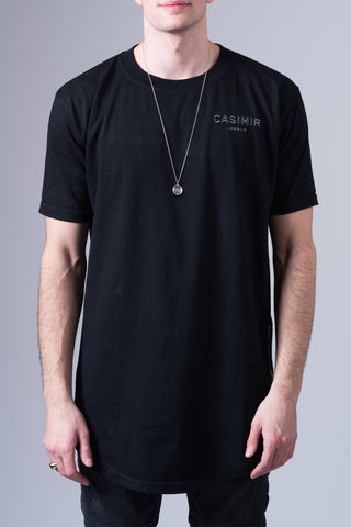 Essential Long Zip T Shirt - Black