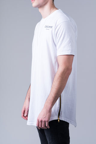 Essential Long Zip T Shirt - White