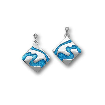 Delta Silver & Enamel Earrings - EE381