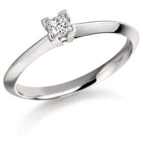 0.15ct Princess Cut Diamond Engagement Ring - Various Metals Available - EN53P15-Ogham Jewellery