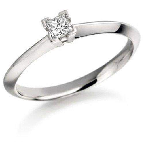 0.15ct Princess Cut Diamond Engagement Ring - Various Metals Available - EN53P15