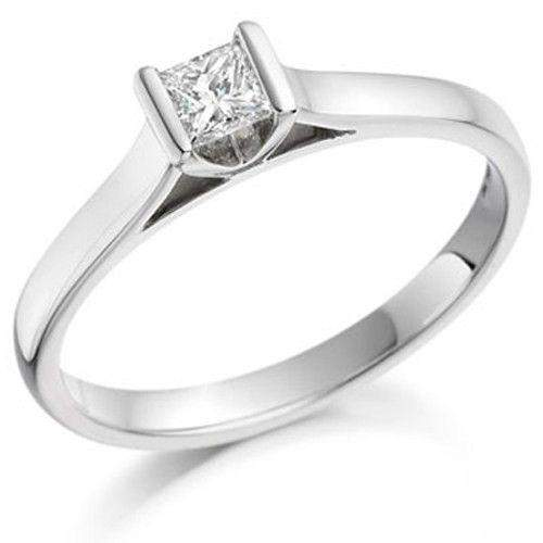 0.20ct Princess Cut Diamond Engagement Ring - Various Metals Available - EN62P20-Ogham Jewellery